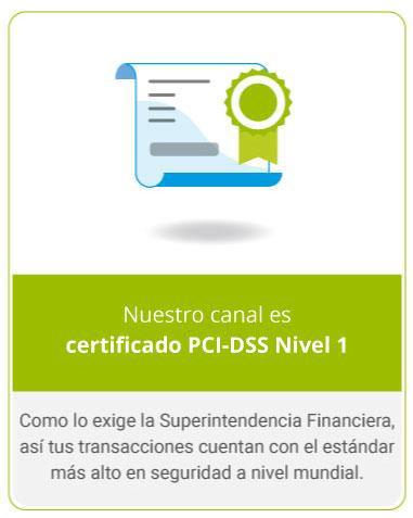 Nuestro canal es certificado PCI-DSS Nivel 1