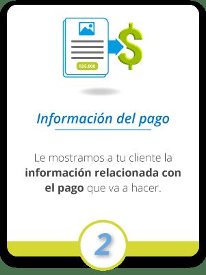 Le mostramos a tu cliente la información relacionada con el pago que va a hacer