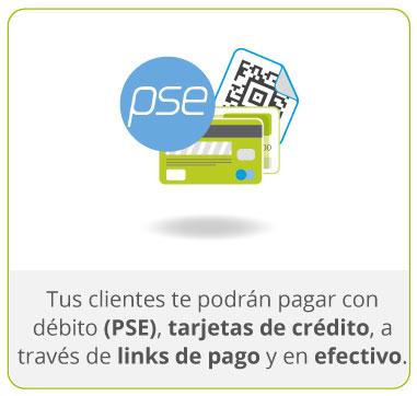 Tus clientes te podrán pagar con débito (PSE), tarjetas de crédito, a través de links de pago y en efectivo.