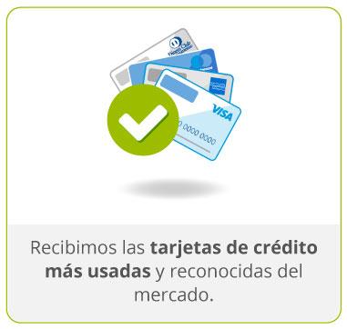 Recibimos las tarjetas de crédito más usadas y reconocidas del mercado.